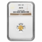 1855 $1 Indian Head Gold - AU-55 NGC