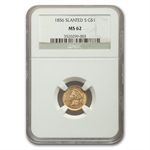 1856 $1 Indian Head Gold Type-3 - Slanted 5 - MS-62 NGC