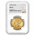1898-S $20 Gold Liberty Double Eagle - MS-63 NGC