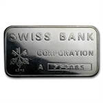 1 oz Swiss Bank Corporation Silver Bar .999 Fine