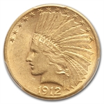 1912-S $10 Indian Gold Eagle - AU-58 PCGS