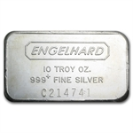 10 oz Engelhard Silver Bar (Wide, Struck, Logo Back) .999 Fine