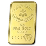 5 gram Swiss Bank Corporation Gold Bar
