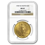 1908 $20 St. Gaudens Gold Double Eagle - No Motto - MS-62 NGC