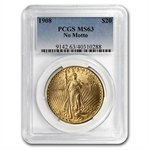 1908 $20 St. Gaudens Gold Double Eagle - No Motto - MS-63 PCGS