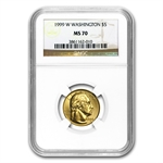 1999-W George Washington - $5 Gold Commem - MS-70 NGC