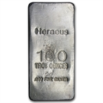 100 oz Heraeus Silver Bar (Poured) .999 Fine