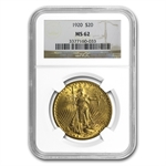1920 $20 St. Gaudens Gold Double Eagle - MS-62 NGC