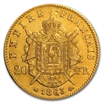French Gold (1852-1870) 20 Francs Napoleon III (XF)