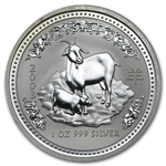 2003 1 oz Silver Lunar Year of the Goat (SI)(Light Abrasions)