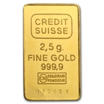 2.5 gram Credit Suisse Gold Bar .9999 Fine (in Assay)