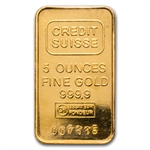 5 oz Credit Suisse Gold Bar .9999 Fine