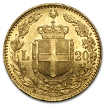 Italy 20 Lire Gold Brilliant Uncirculated Random Dates AGW .1867