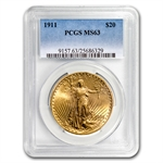 1911 $20 St. Gaudens Gold Double Eagle - MS-63 PCGS