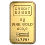 5 gram Statue of Liberty Credit Suisse Gold Bar .9999 Fine