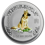 2006 2 oz Silver Lunar Year of the Dog (Series I) Colorized