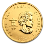2009 1 oz Gold Canadian Maple Leaf (Vancouver) - Olympics