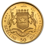 Somalia 1965 Gold 50 Shillings Proof Independence