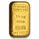 100 gram Credit Suisse Gold Bar .9999 Fine
