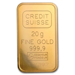 20 gram Statue of Liberty Credit Suisse Gold Bar .9999 Fine