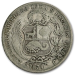 Peru 1864-1916 Sol Silver Average Circulated