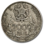 Brazil Silver 2000 Reis XF or Better Liberty Cap