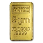 5 gram Sunshine Minting Gold Bar .9999 Fine