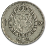 Sweden 1 Krona Silver Average Circulated ASW= 0.090