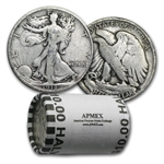 $10 Walking Liberty Halves - 90% Silver 20-Coin Roll (1916-1929)