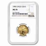 1986 1/4 oz Gold American Eagle MS-70 NGC Registry Set