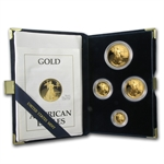 1989-P 4-Coin Proof Gold American Eagle Set (w/Box & CoA)