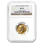 Canada 1911-C Sovereign Gold George V MS-63 NGC