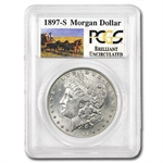 1897-S Brilliant Uncirculated PCGS Stage Coach Silver Dollars