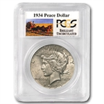 1934 Brilliant Uncirculated PCGS Stage Coach Silver Dollars