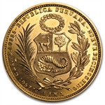 Peru 1967 Gold 50 Soles Brilliant Uncirculated