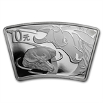 2009 Ox Fan Shaped 1 oz Silver (W/Box & Coa)