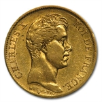 France 1830-A 40 Francs Gold Charles X EF AGW .3734