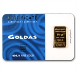 10 gram Goldas Gold Bar .9999 Fine (In Assay)