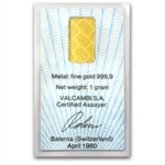 1 gram Gold Bar - Mint Varies - .999+ Fine (With Assay)