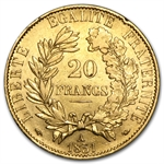 France 1850-1851 Gold 20 Francs Ceres Head (AU)