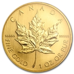 2005 1 oz Gold Canadian Maple Leaf .99999 Variety (W/Box & CoA)