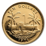 Bahamas 1971 10 Dollars Gold Uncirculated