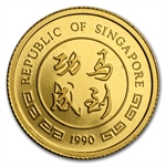 Singapore 1990 5 Singgold Gold Horse 1/20th Ounce