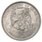 1877-S Trade Dollar - Almost Uncirculated-58 - Chop Mark