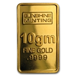 10 gram Sunshine Minting Gold Bar .9999 Fine (No Assay Card)