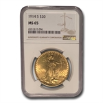 1914-S $20 St. Gaudens Gold Double Eagle - MS-65 NGC