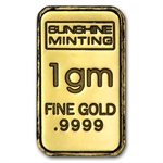 1 gram Sunshine Minting Gold Bar .9999 Fine