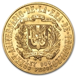 Dominican Republic 1955 30 Pesos Gold BU