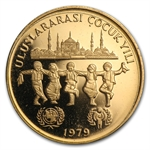 Turkey 1979 10,000 Lira Gold Proof UNICEF and IYC