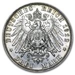 Bavaria 1912 Silver 3 Mark AU